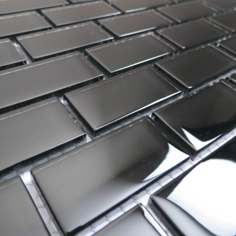Black Subway mosaic sheets from Glassmosaic.co.uk